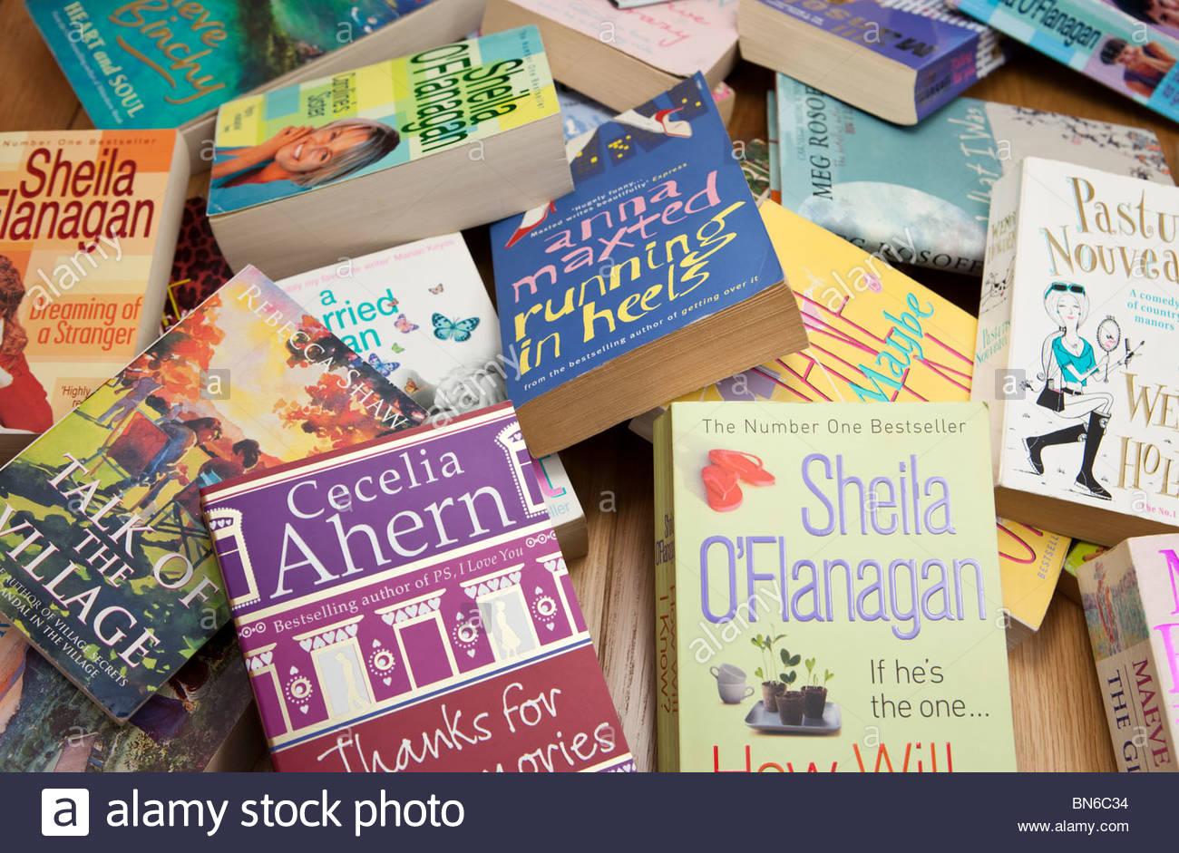Assortment of paperback books - Stock Image