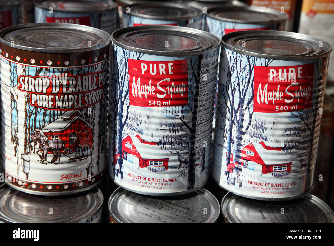 Canned maple syrup, Jean Talon Market, Montreal - Stock Image