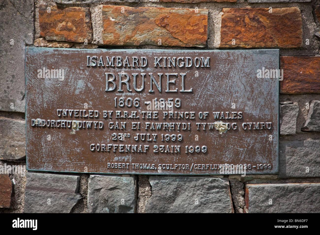 Commemorative plaque of Isambard Kingdom Brunel, on statue at Neyland, Pembrokeshire Wales 107624 Brunel Stock Photo