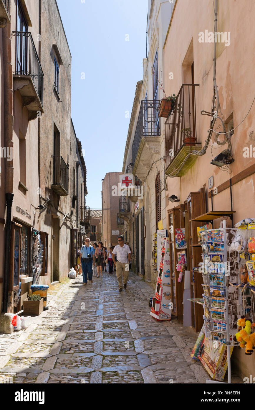 Typical street in the historic old town of Erice, Trapani region, North West Sicily, Italy - Stock Image