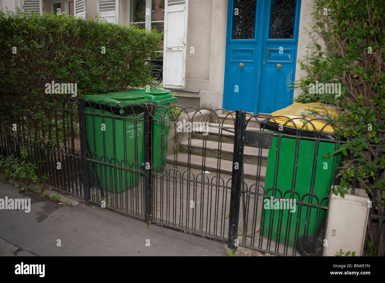 Facade Apartments Building Paris France Front Door Entrance Recycling Garbage Cans wheely bin & Facade Apartments Building Paris France Front Door Entrance ...