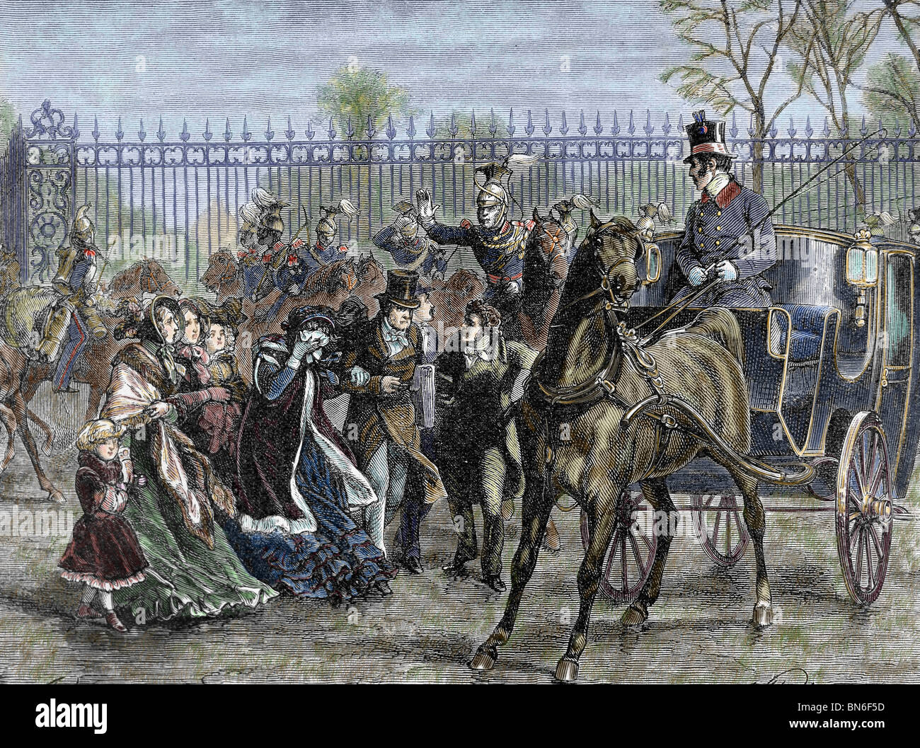 French Liberal Revolution (February 1848). Louis Philippe and his family out of the Tuileries Palace. - Stock Image