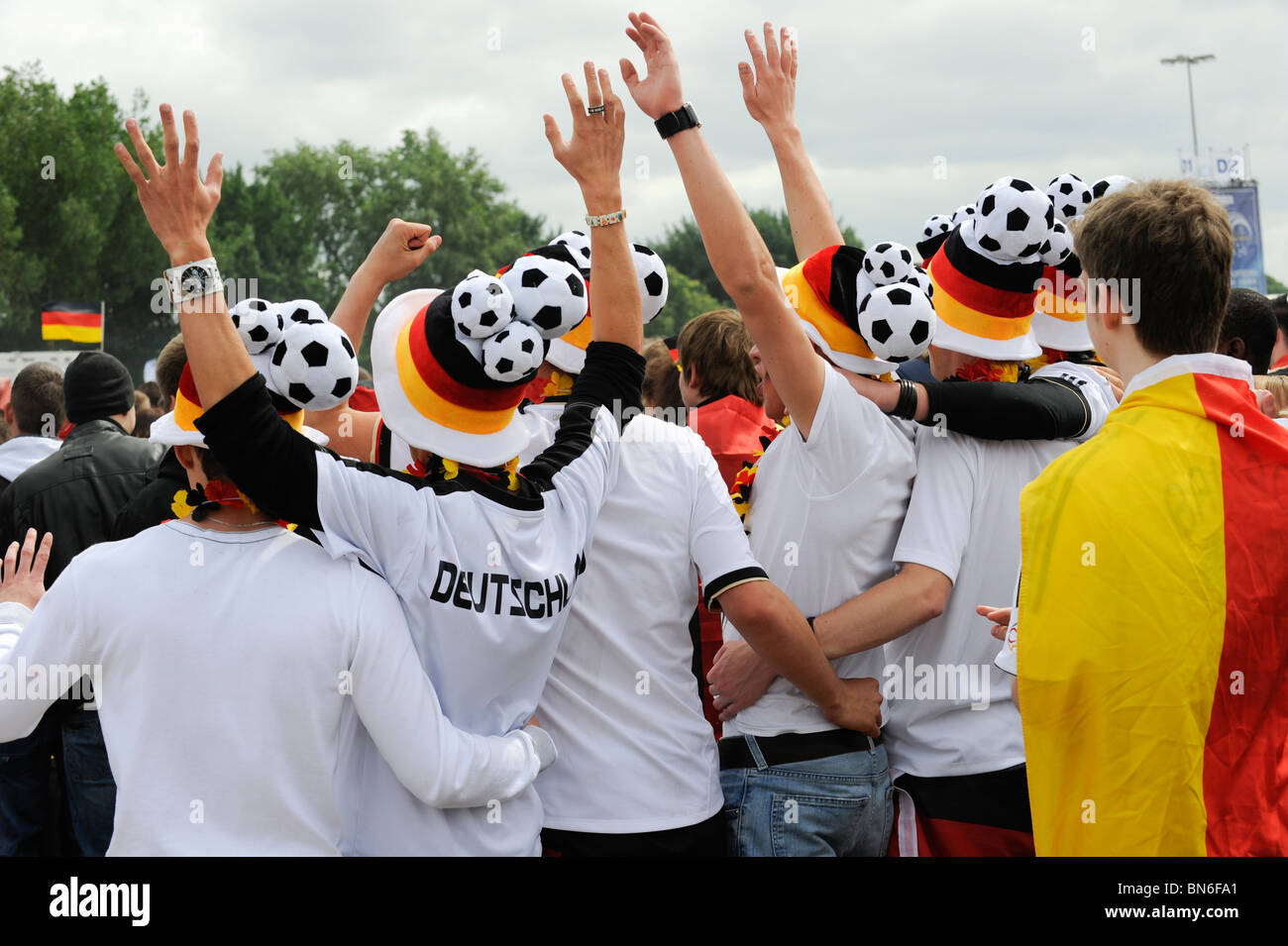 Germany Hamburg St. Pauli, german fans at public viewing of FIFA world cup 2010 in south africa, game Germany - - Stock Image