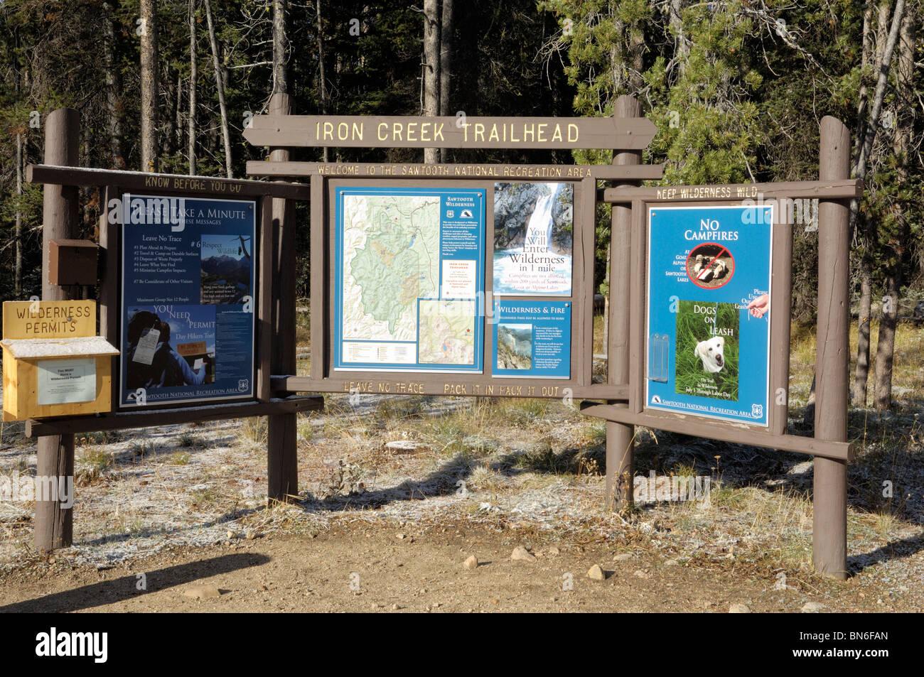 Iron Creek Trailhead notice board, Sawtooth Mountains, Idaho, USA - Stock Image
