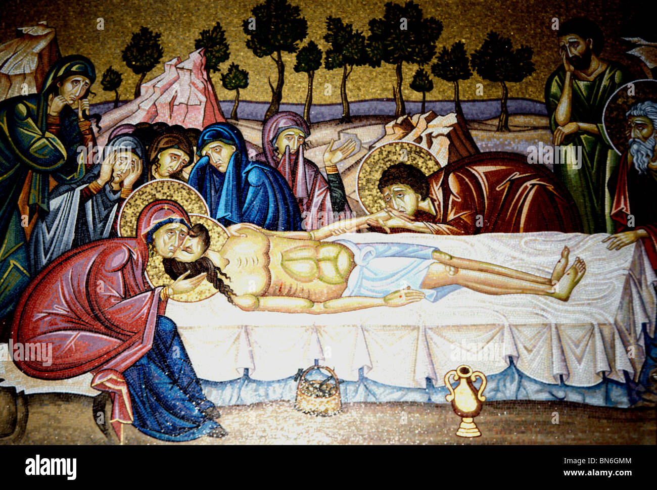 Stone of the Unction, painting of Christ after his crucifixion, Church Holy Sepulchre, Jerusalem Stock Photo