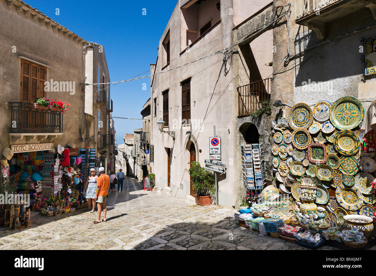 Typical street in the historic old town of Erice, Trapani region, North West Coast, Sicily, Italy - Stock Image