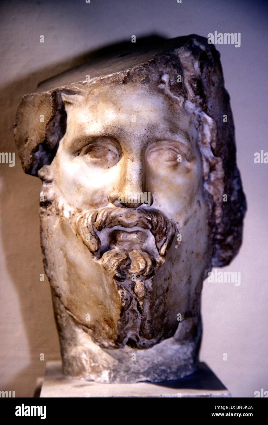 Asklepios Greek God medicine Asclepios  head - Stock Image