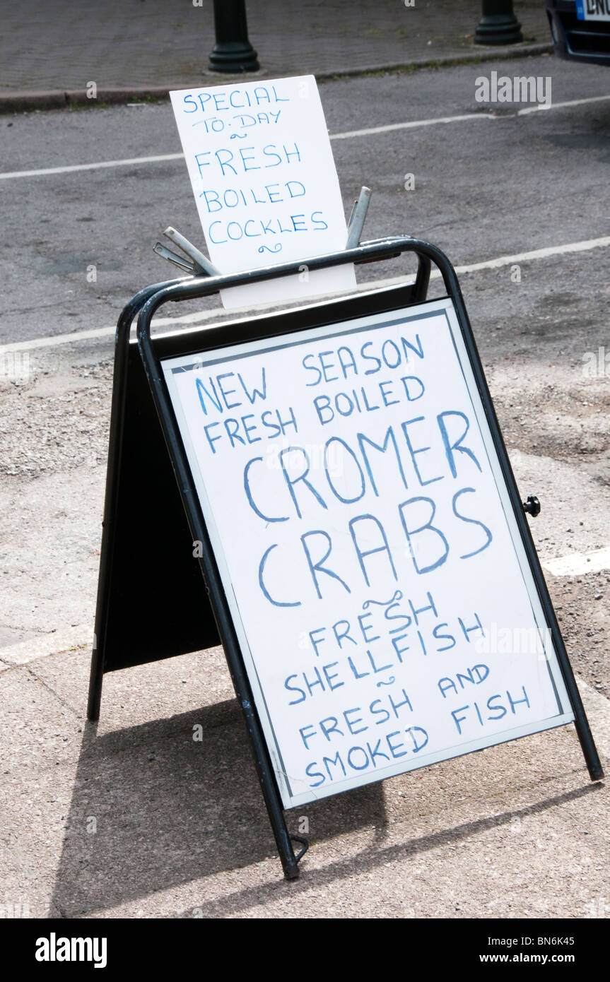 A sign for Cromer Crabs on the Saturday Market, King's Lynn, Norfolk - Stock Image