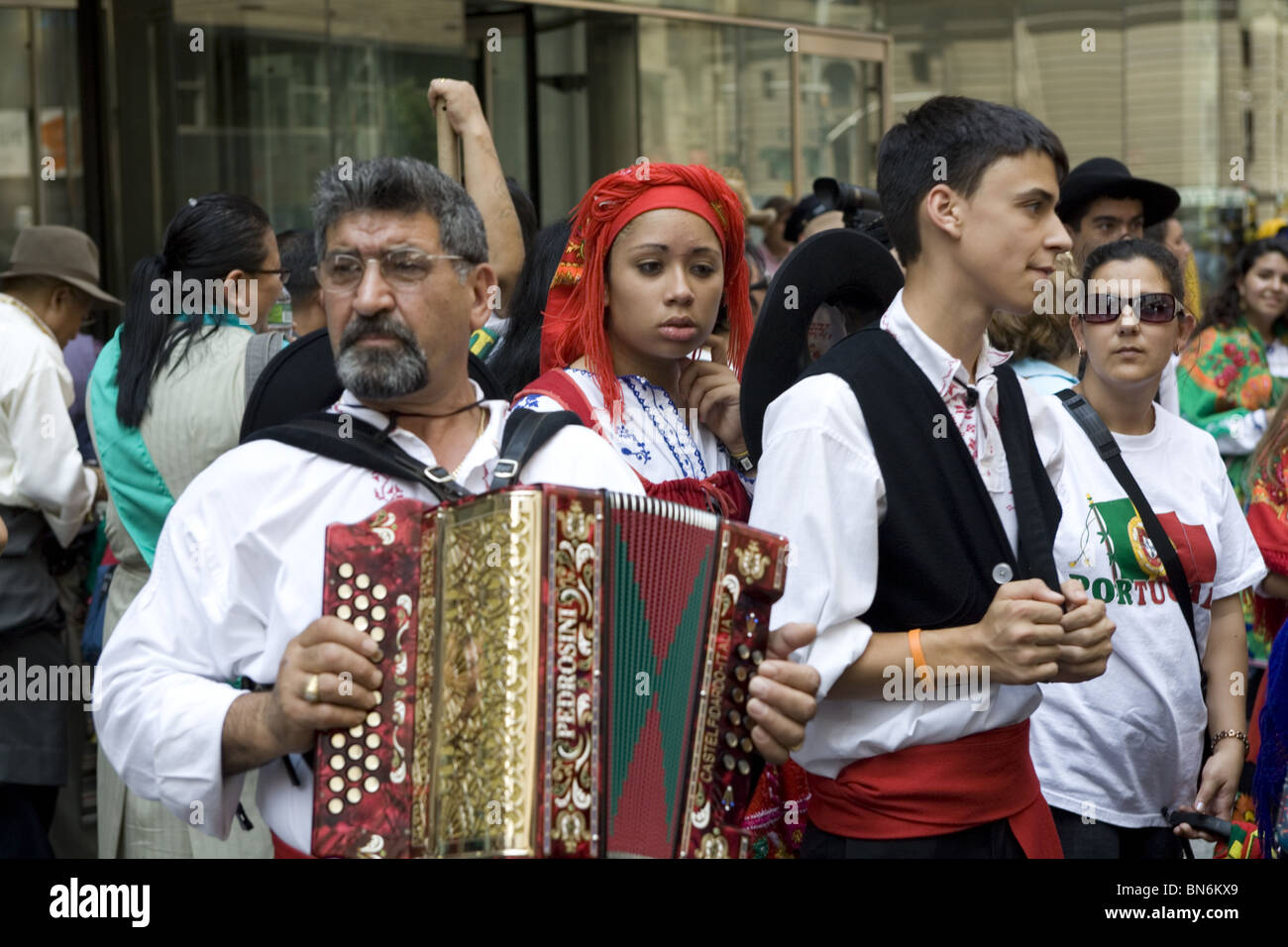 International Immigrants Parade, NYC: Portuguese Americans perform at the parade - Stock Image