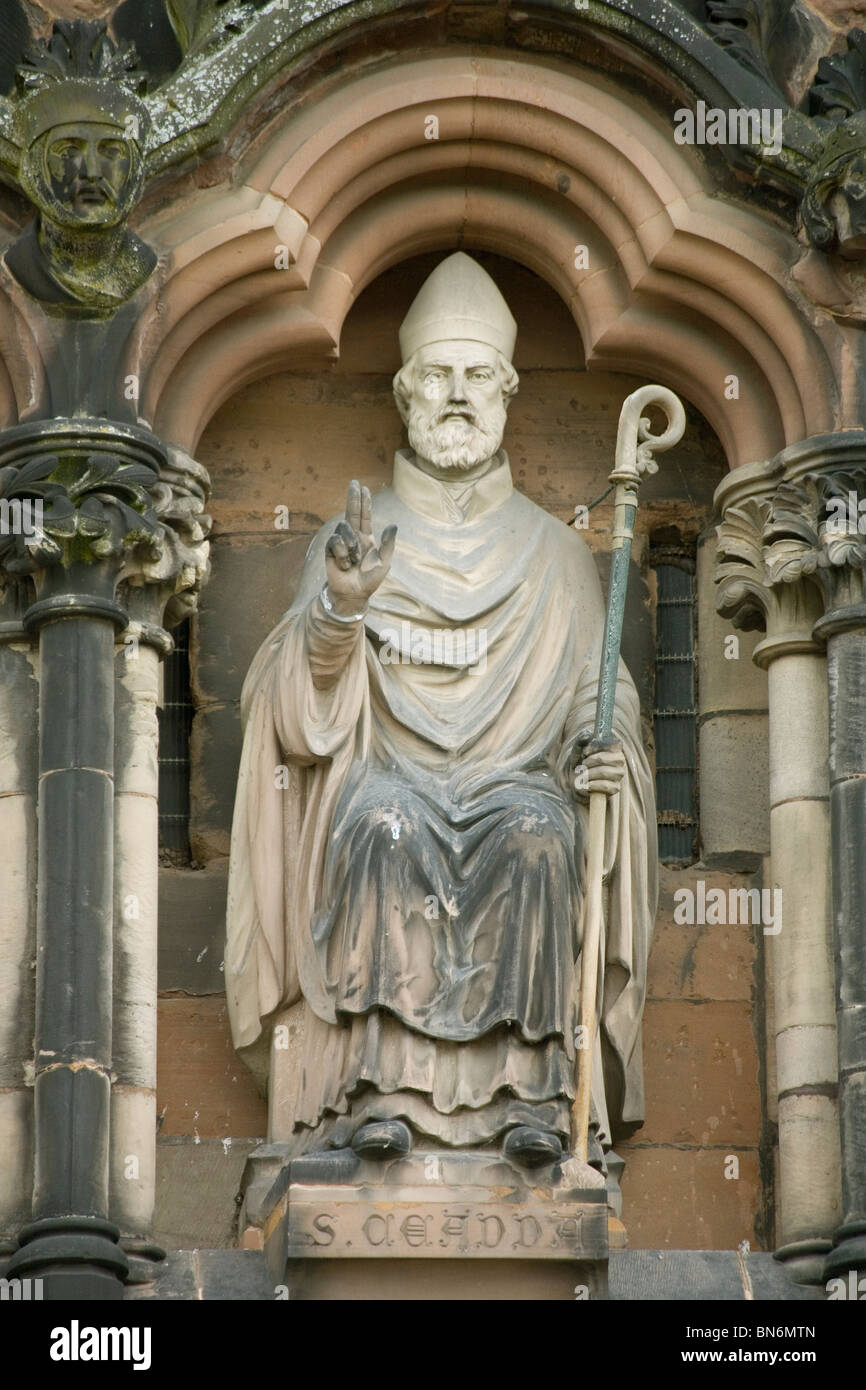 England Staffordshire Lichfield cathedral, St.Chad, the founder - Stock Image