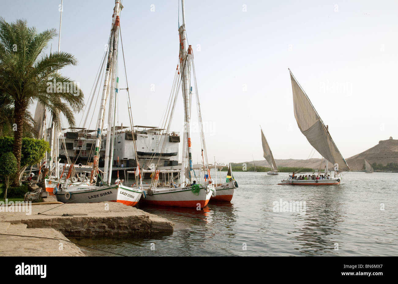 Feluccas on the river Nile at Aswan, Upper Egypt - Stock Image