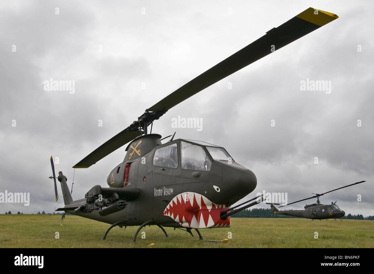 AH-1S Cobra Gunship military helicopter on display at the Olympic Airshow in Tumwater (Olympia), Washington. - Stock Image