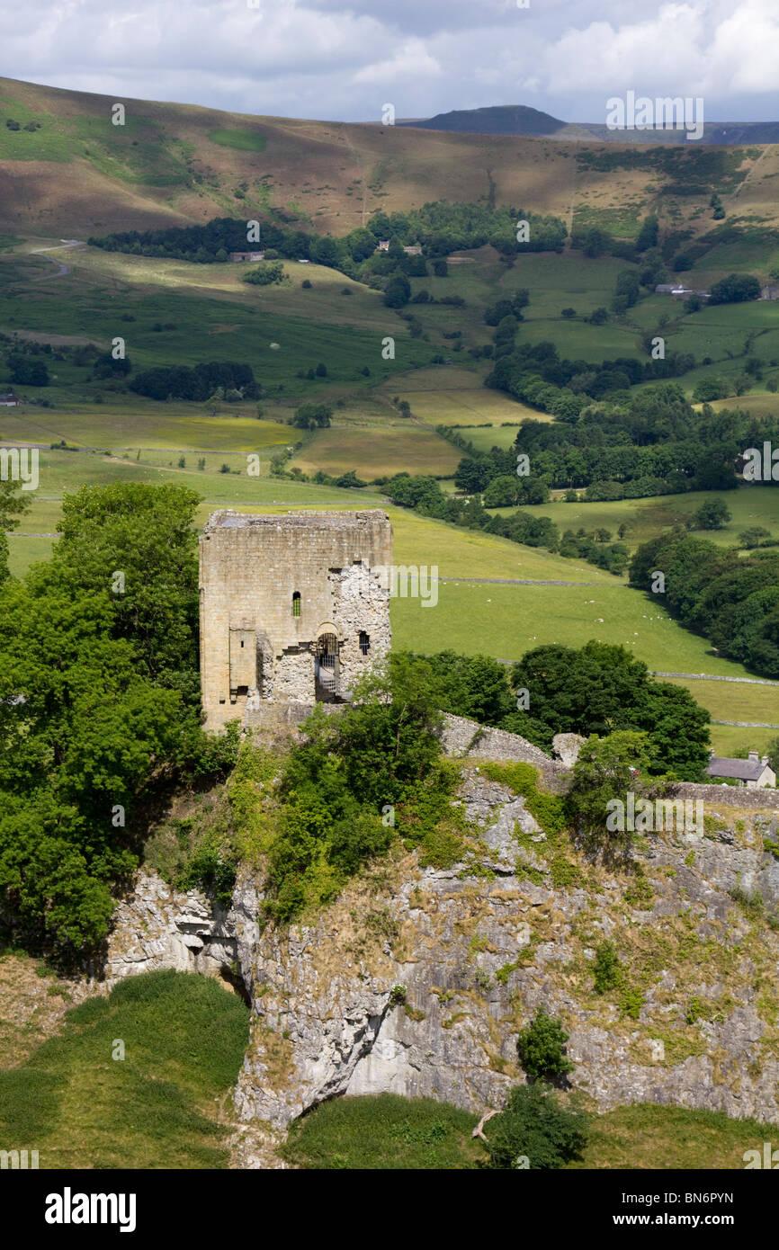 Peveril Castle in Castleton Derbyshire peak district national park England - Stock Image