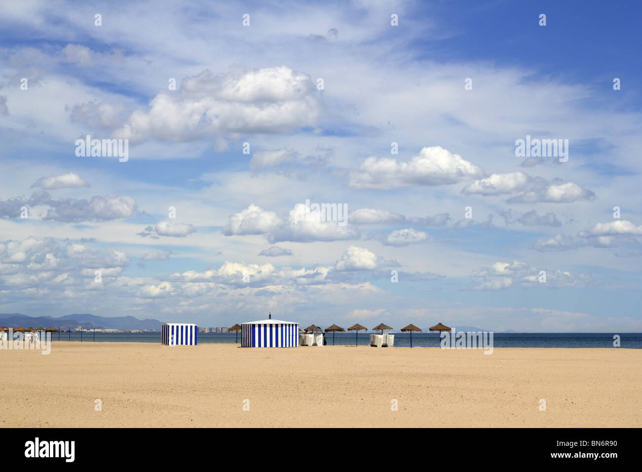 Malvarrosa las Arenas beautiful sand beach in Valencia Spain blue sky - Stock Image