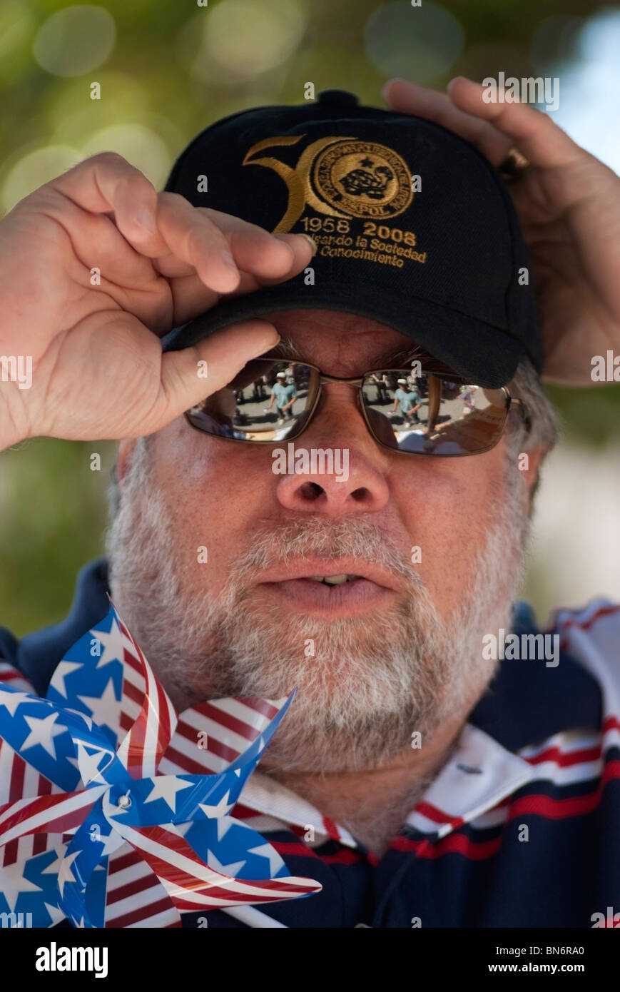 Steve Wozniak, Apple Inc. co-founder was the Grand Marshall in the 2010 Rose, White & Blue 4th of July Parade - Stock Image