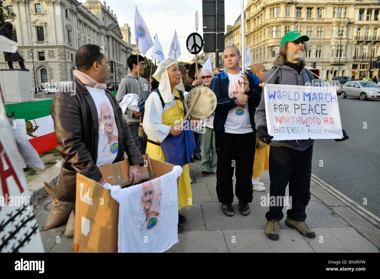 World March For Peace and Nonviolence reaches Parliament Square - Stock Image