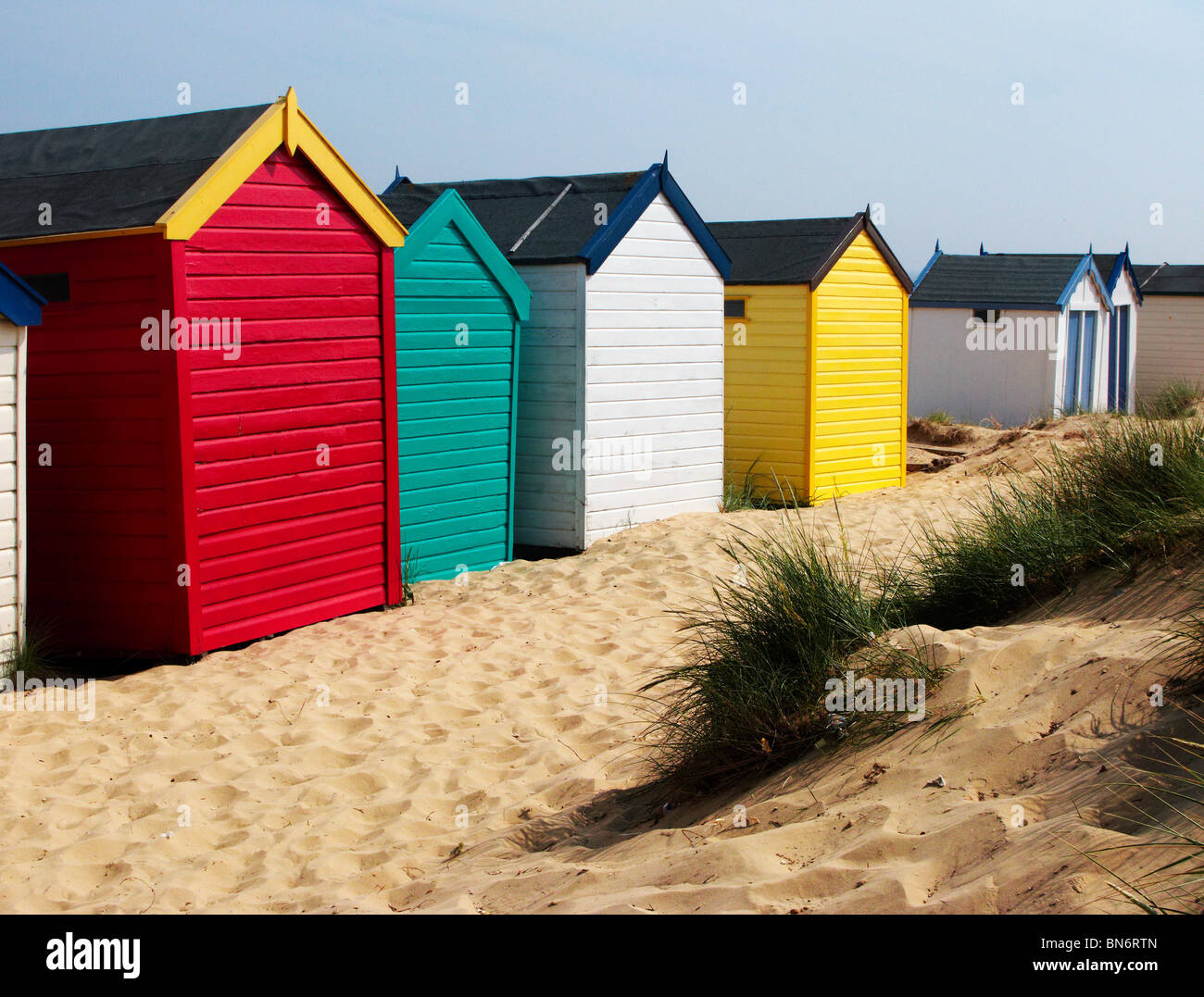 Beach huts at Southwold Suffolk - Stock Image
