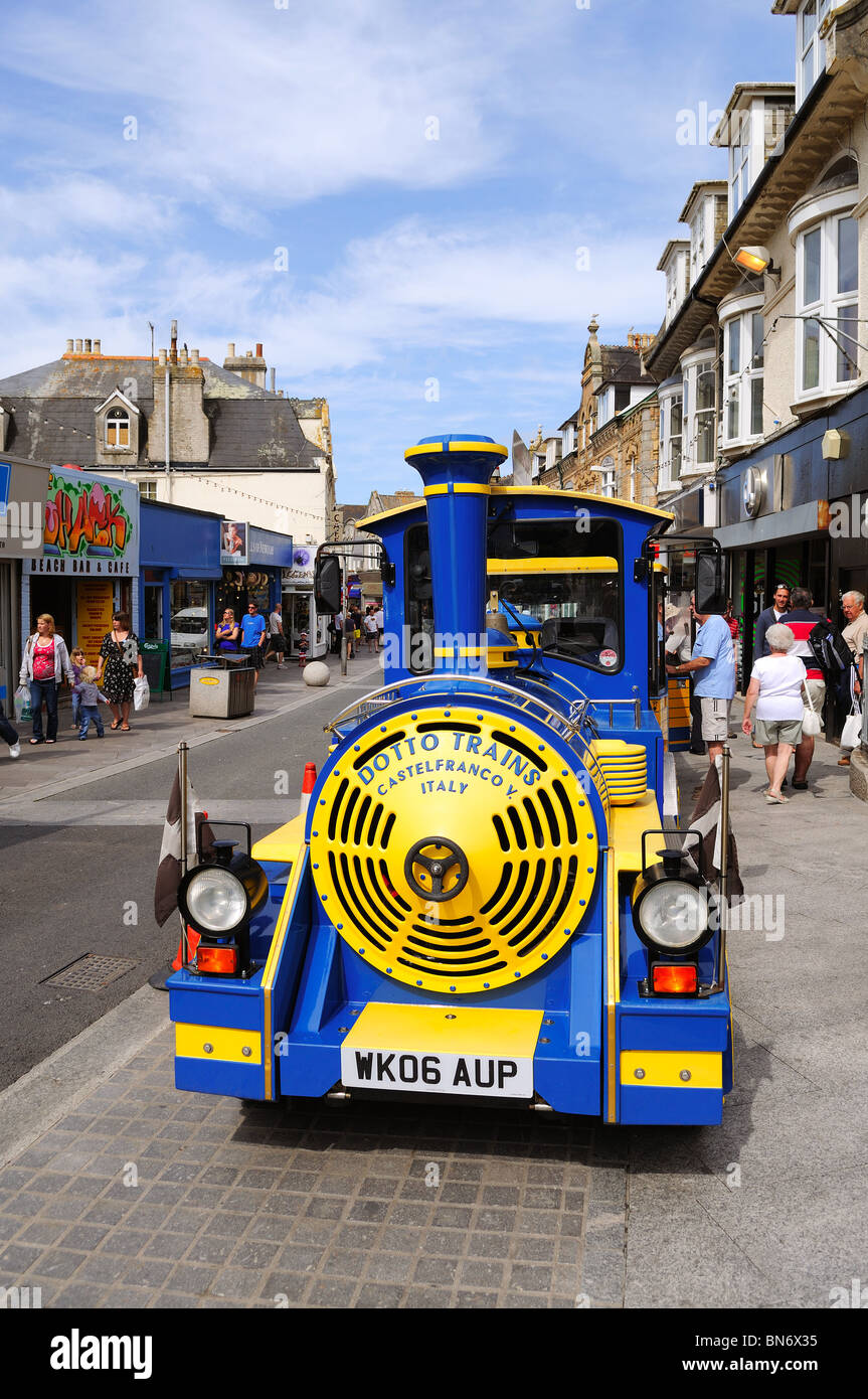 the little tourist train at newquay in cornwall, uk - Stock Image