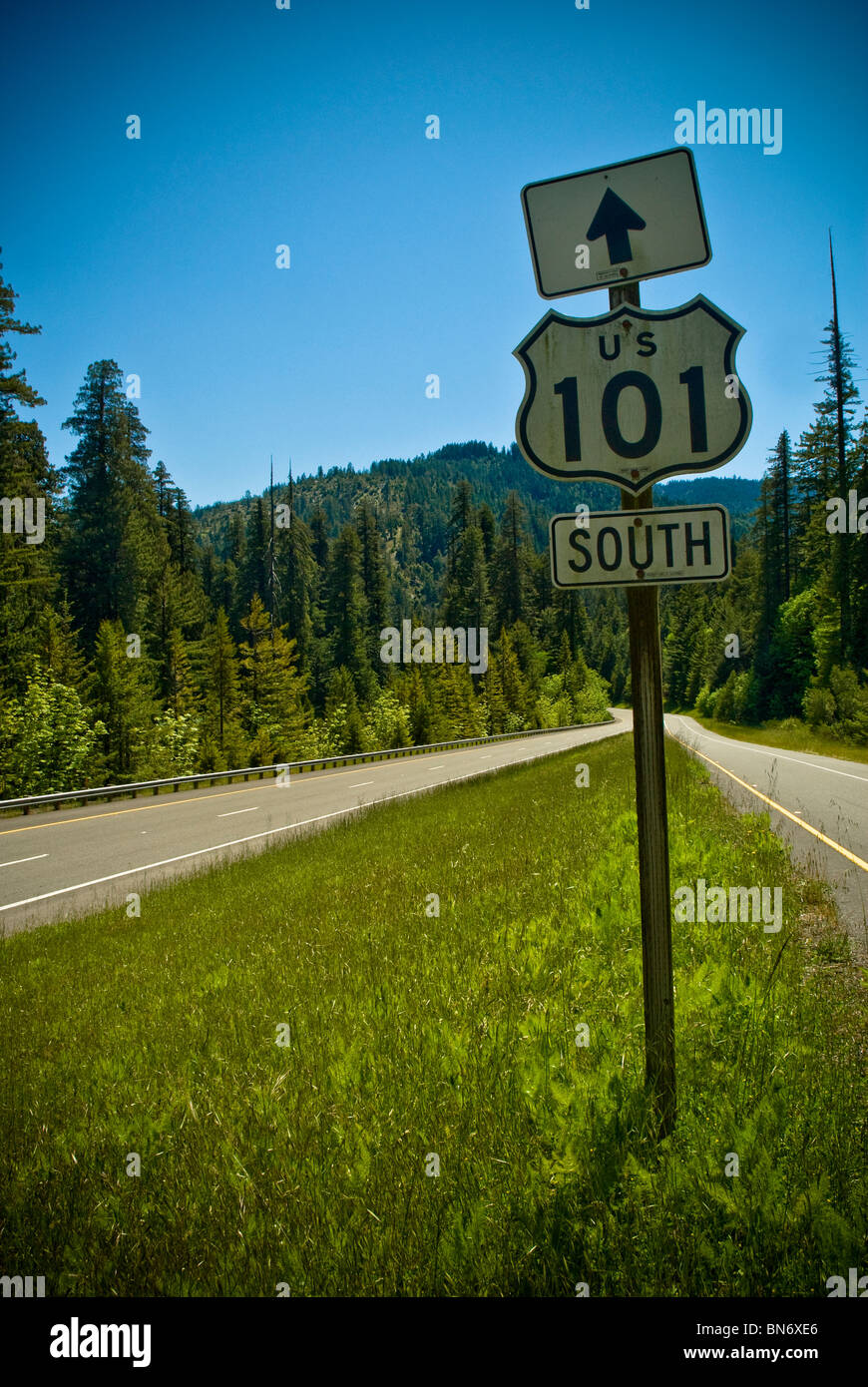 Highway 101 - the 'Lost Highway', Northern California, USA - Stock Image