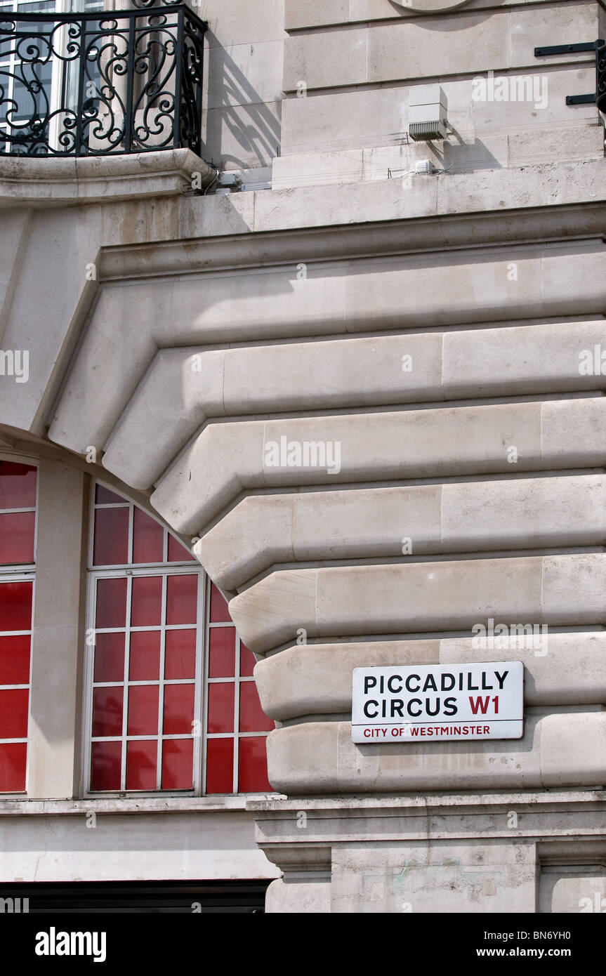 Picadilly Circus sign on the wall of a building in London.  Photo by Gordon Scammell Stock Photo