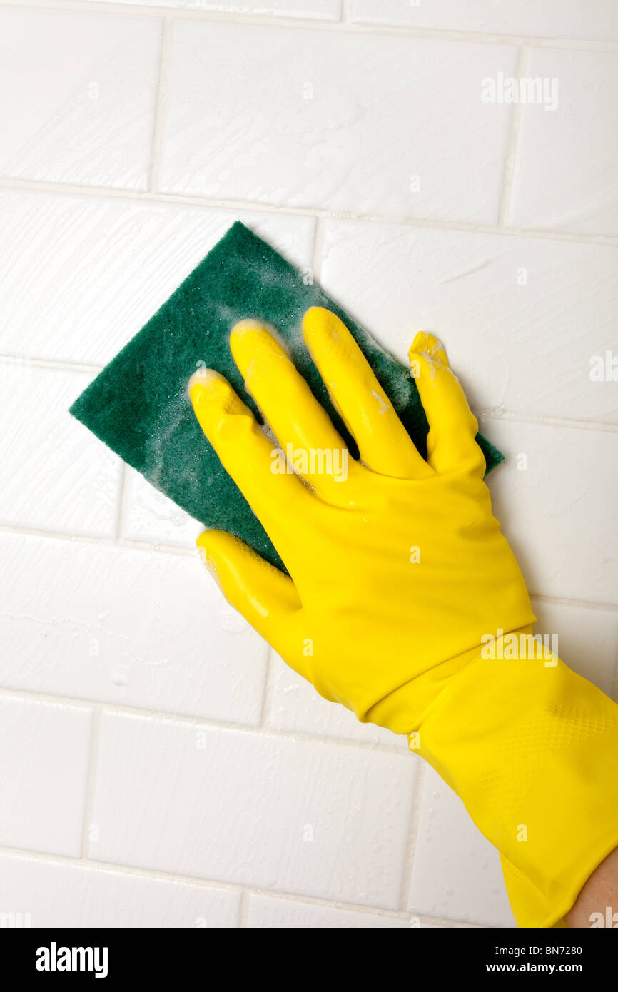 Cleaning Bathroom Tile Wall close up - Stock Image