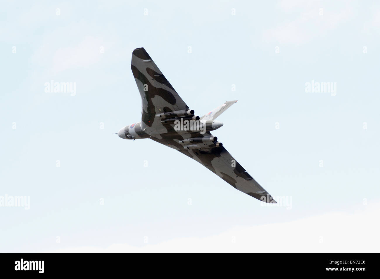 AVRO Vulcan RAF Waddington, Lincoln, International Airshow. Avro Vulcan XH558 (civil aircraft registration G-VLCN) - Stock Image