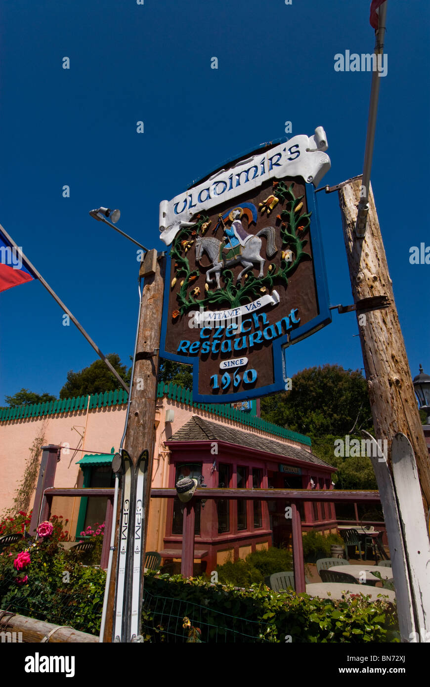 Vladimir's Czech Restaurant in Inverness Park at Point Reyes CA California - Stock Image