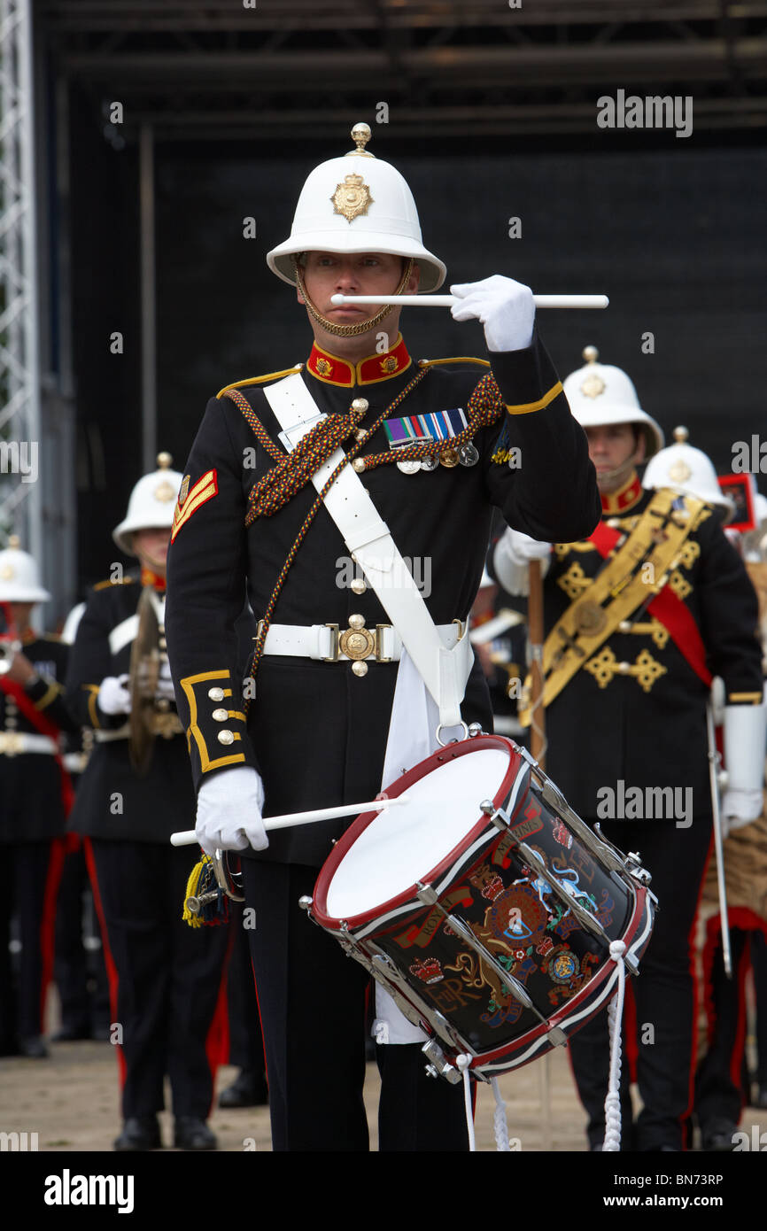bugler and drummer of the band of HM Royal Marines Scotland at Armed Forces Day 2010 in Bangor County Down Northern - Stock Image