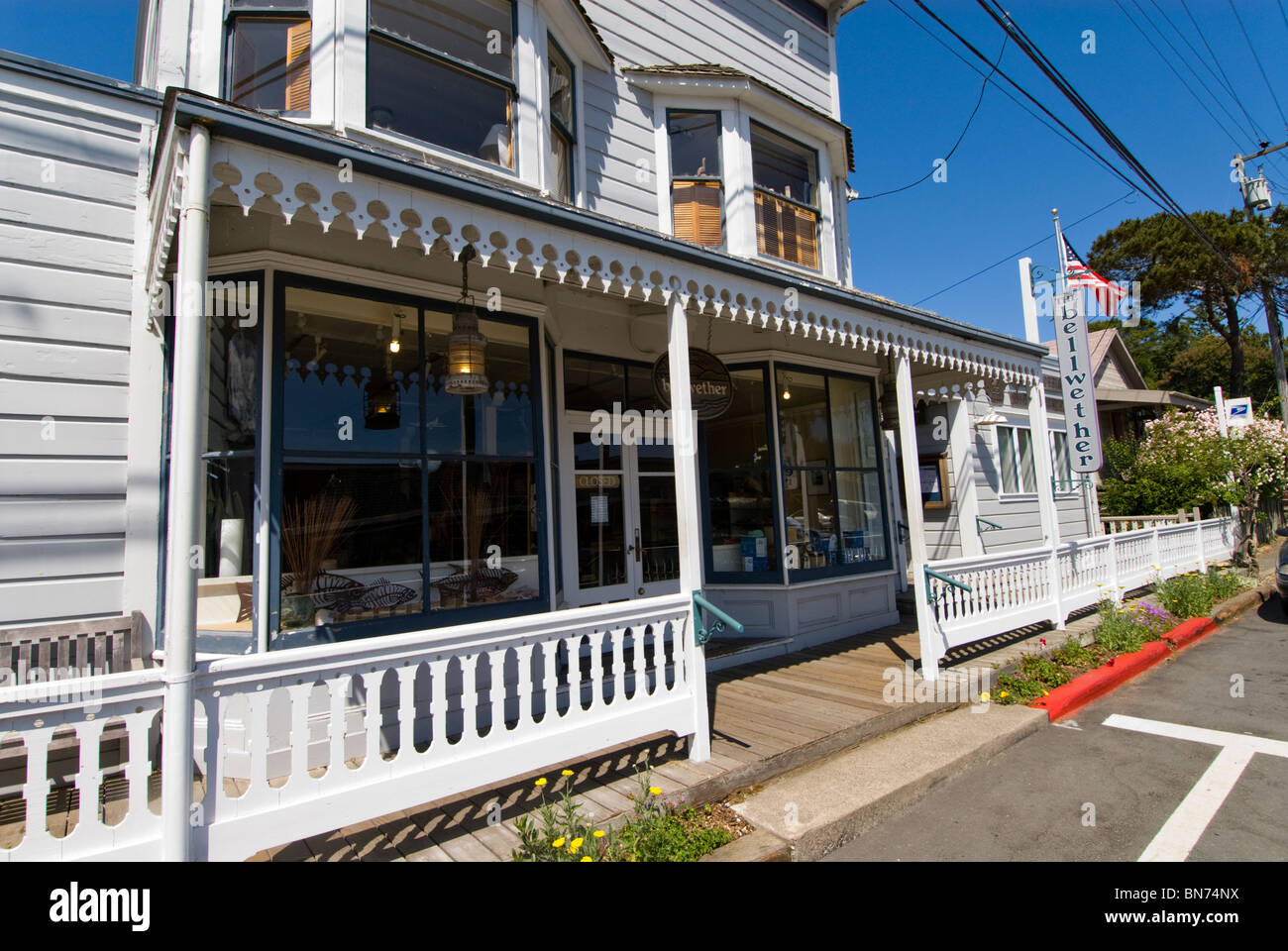 Pacific Ocean Bellwether shop at Inverness Park in Point Reyes, CA, California, part of GGNRA - Stock Image
