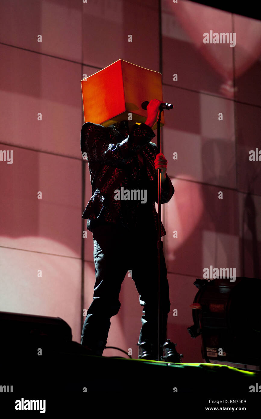Pet Shop boys playing the other stage at the Glastonbury Festival 2010 - Stock Image