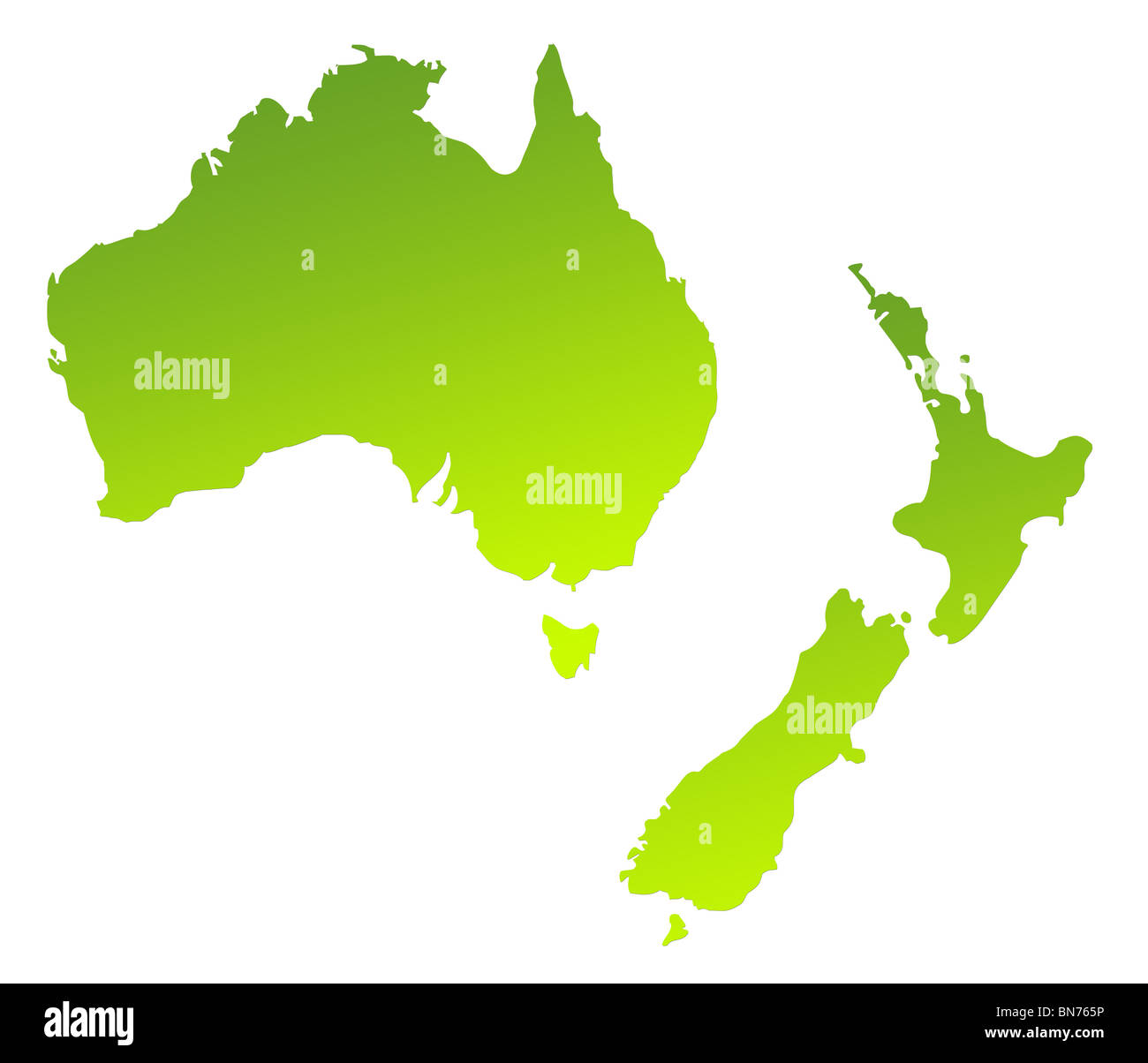 Green gradient map of Australia and New Zealand isolated on a white background. - Stock Image