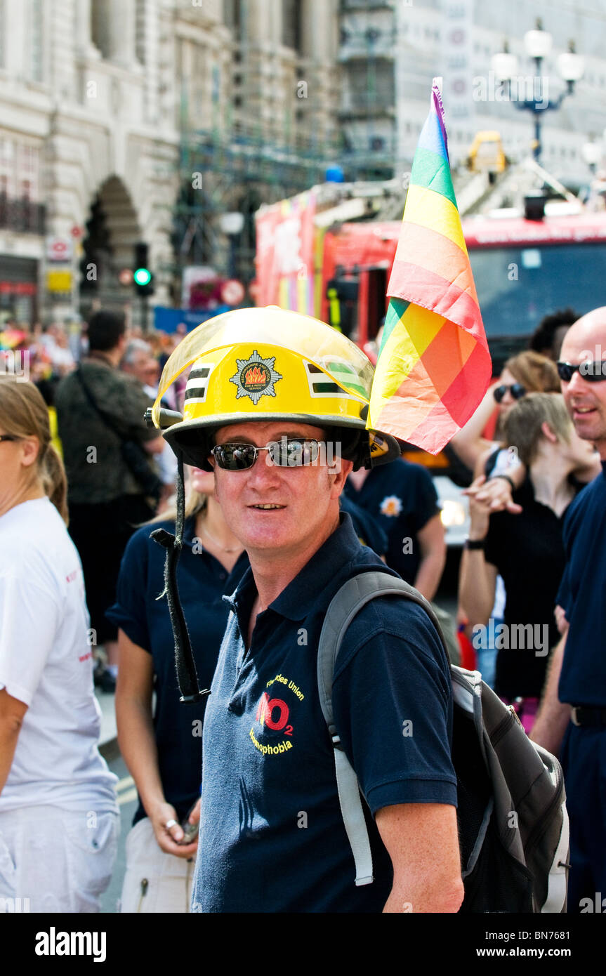 A memebr of the London Fire Brigade at the Pride London celebrations.  Photo by Gordon Scammell - Stock Image