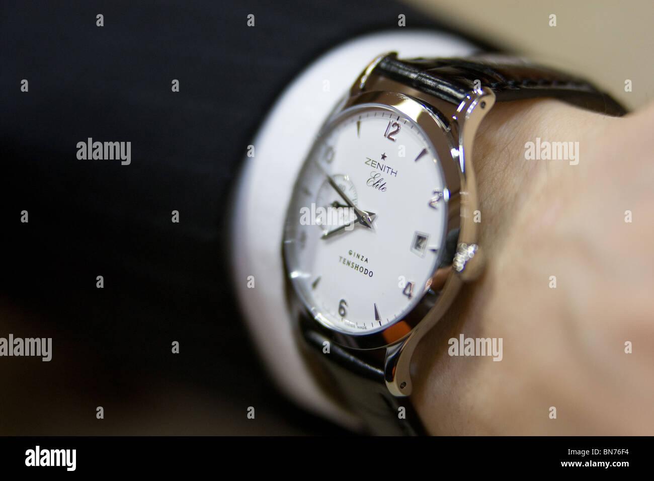 The Zenith Elite Tenshodo Limited Edition watch- costing ¥535,000, in 'Tenshodo' shop, Ginza, Tokyo, - Stock Image