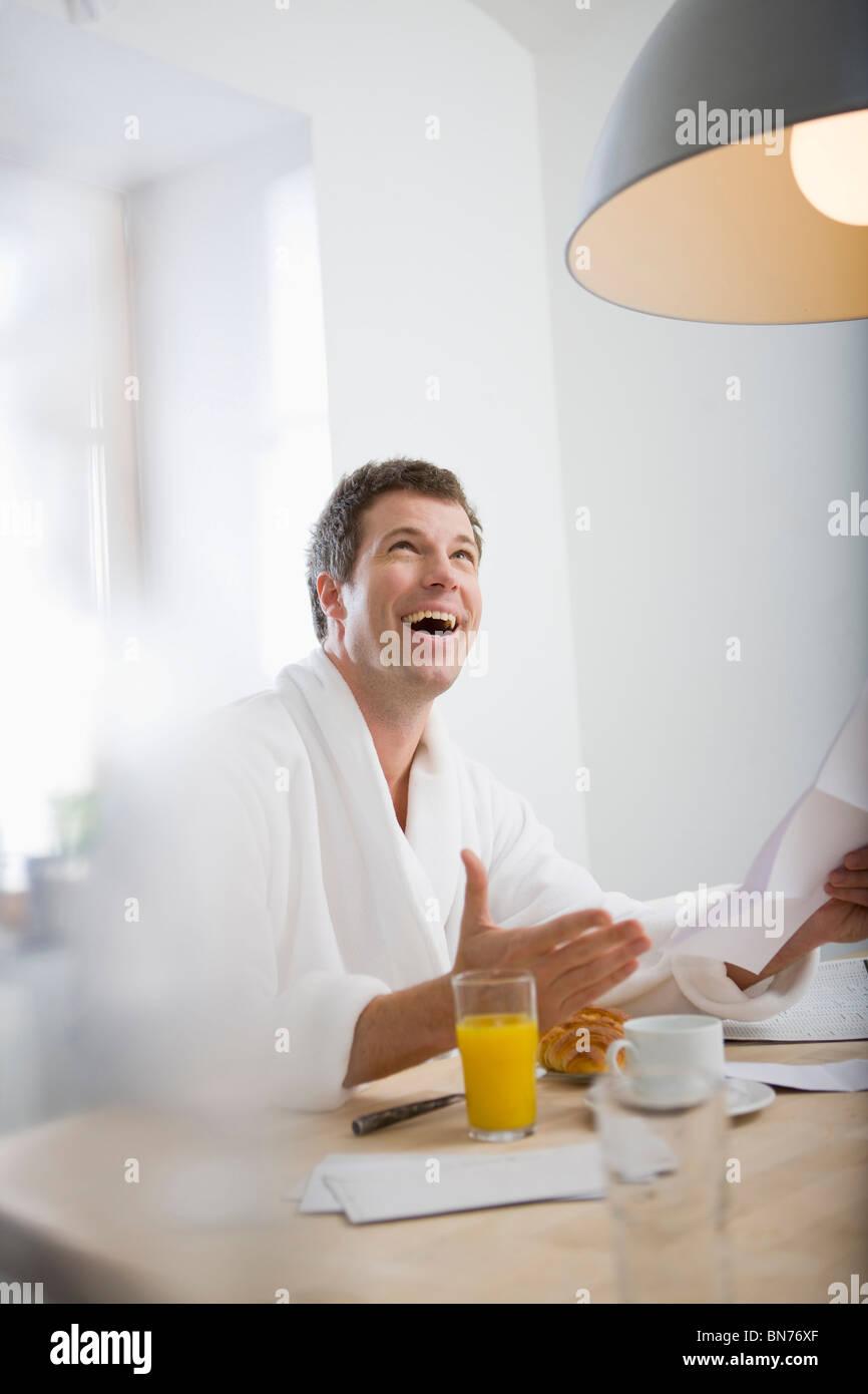 Man getting good news - Stock Image