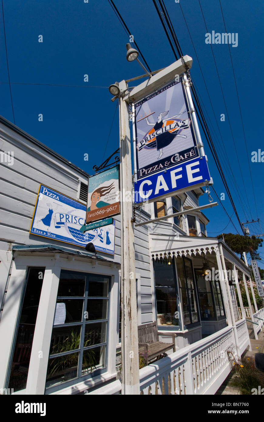 Priscilla's Pizza and Cafe Inverness Park CA California at Point Reyes in GGNRA - Stock Image