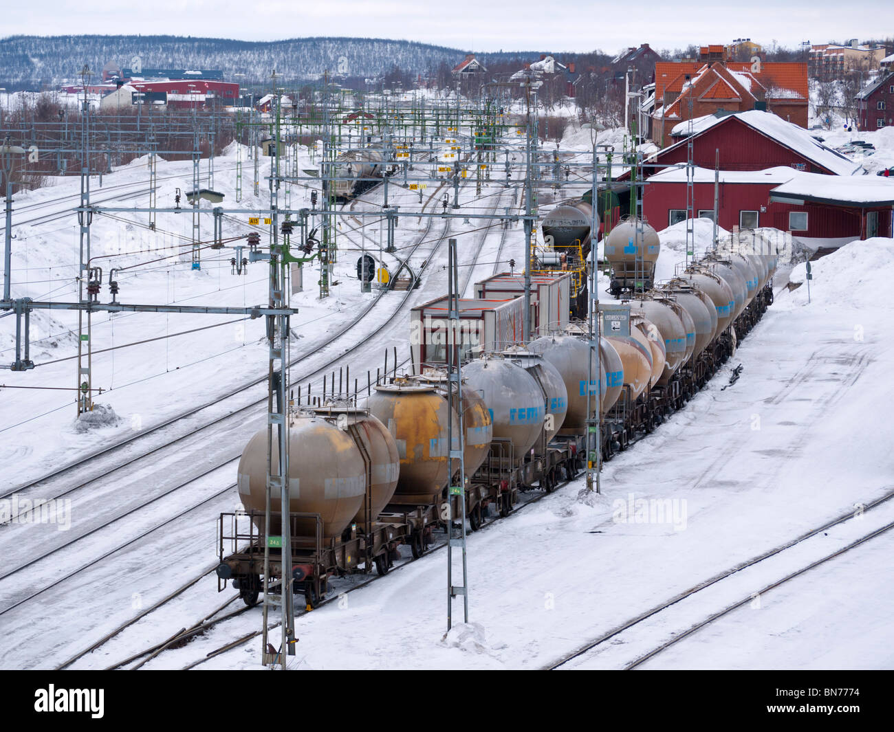 The railway station of Kiruna in Lapland, Northern Sweden. - Stock Image