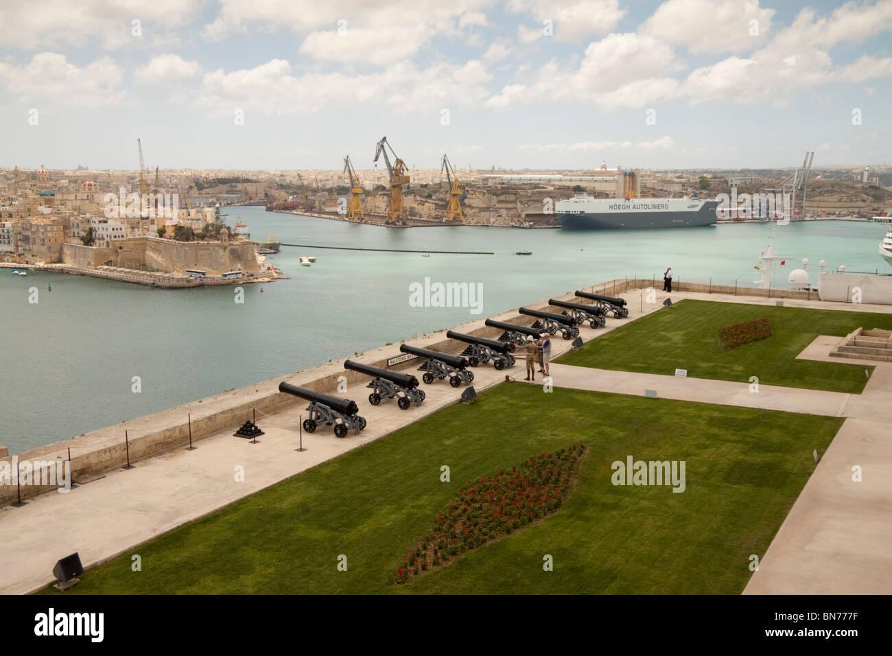 Saluting Battery, Grand Harbour, Valletta, Malta - Stock Image