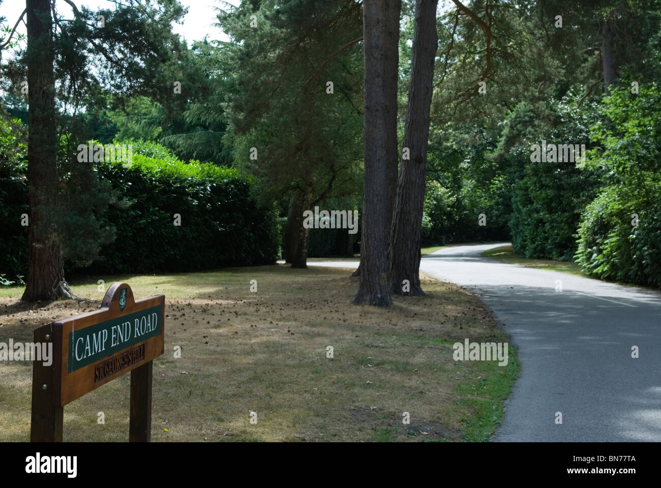St Georges Hill. Camp End Road where the Diggers in 1649 formed community  now an exclusive private estate HOMER - Stock Image