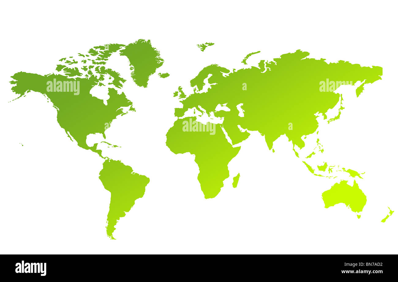 Green gradient map of World or Planet Earth isolated on a white background. Stock Photo