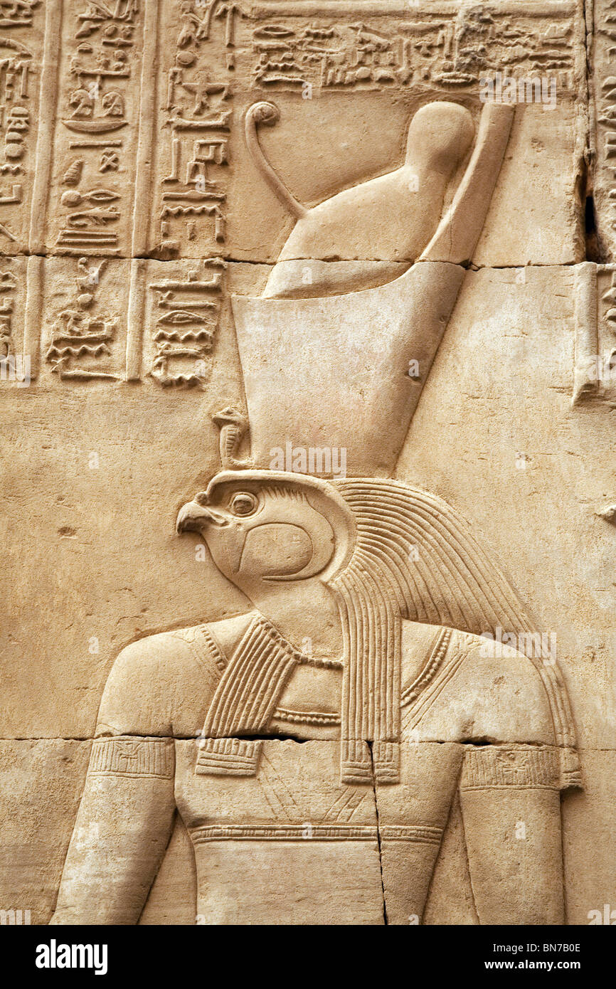 Bas relief alabaster carving of  the falcon god Horus,  the Temple of Horus and Sobek, Kom Ombo, Upper Egypt Stock Photo