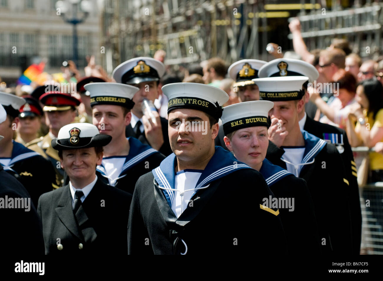 Royal Navy marching at the Pride London celebrations. - Stock Image