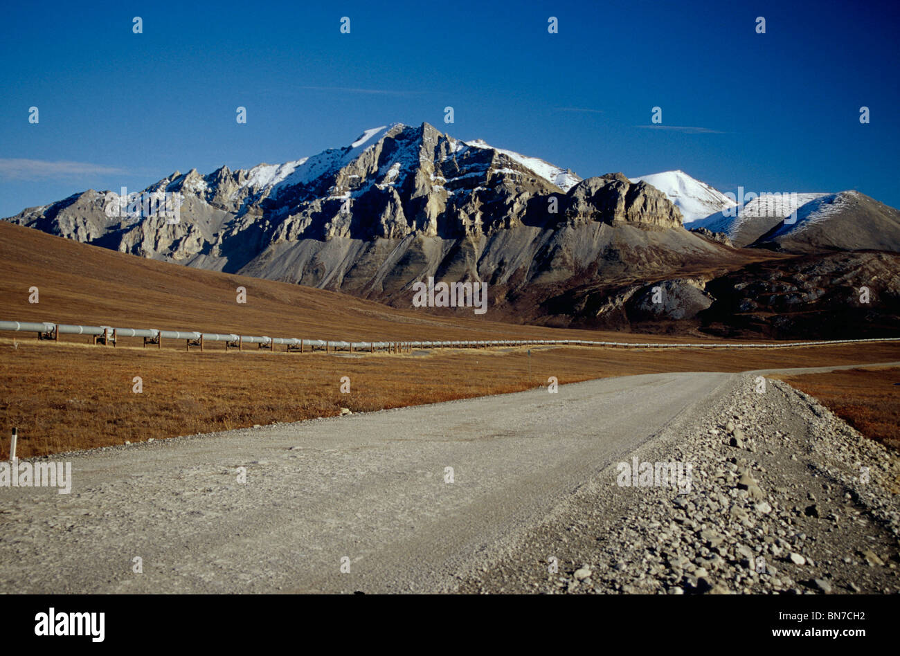 Trans-Alaska Pipeline and Haul Road Arctic Alaska Fall - Stock Image