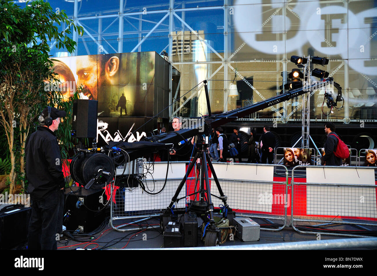 Film Crew with equipment for premier of Raavan at British Film Institute, London - Stock Image