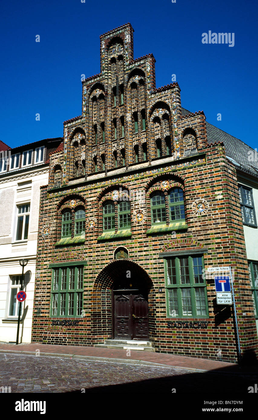Medieval brick gothic Kerkhoffhaus from 1470 in the German city of Rostock. - Stock Image
