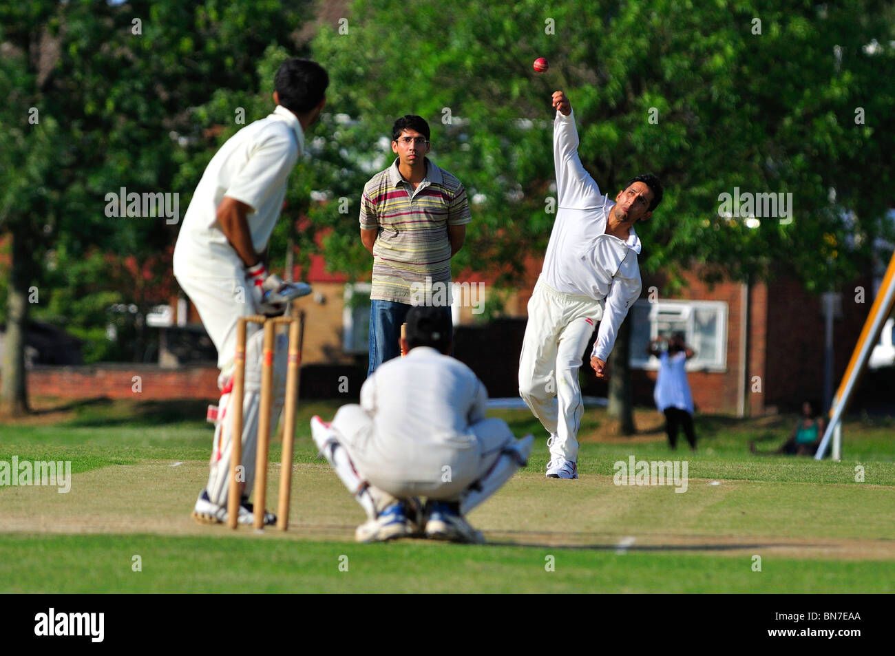 Cricket Match in Luton Stock Photo
