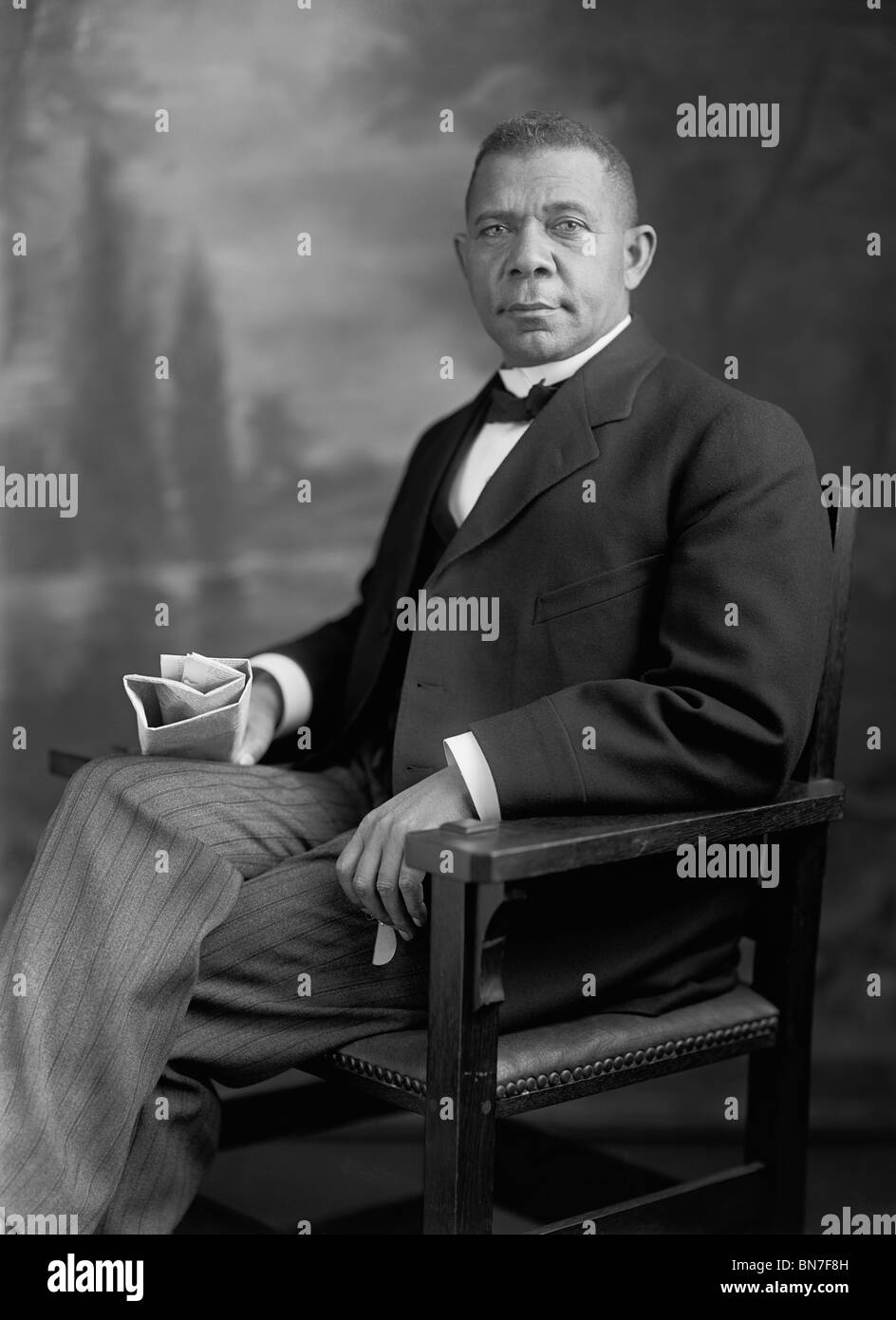 Portrait photo of African-American political leader, educator, orator and author Booker T Washington (1856 - 1915). - Stock Image
