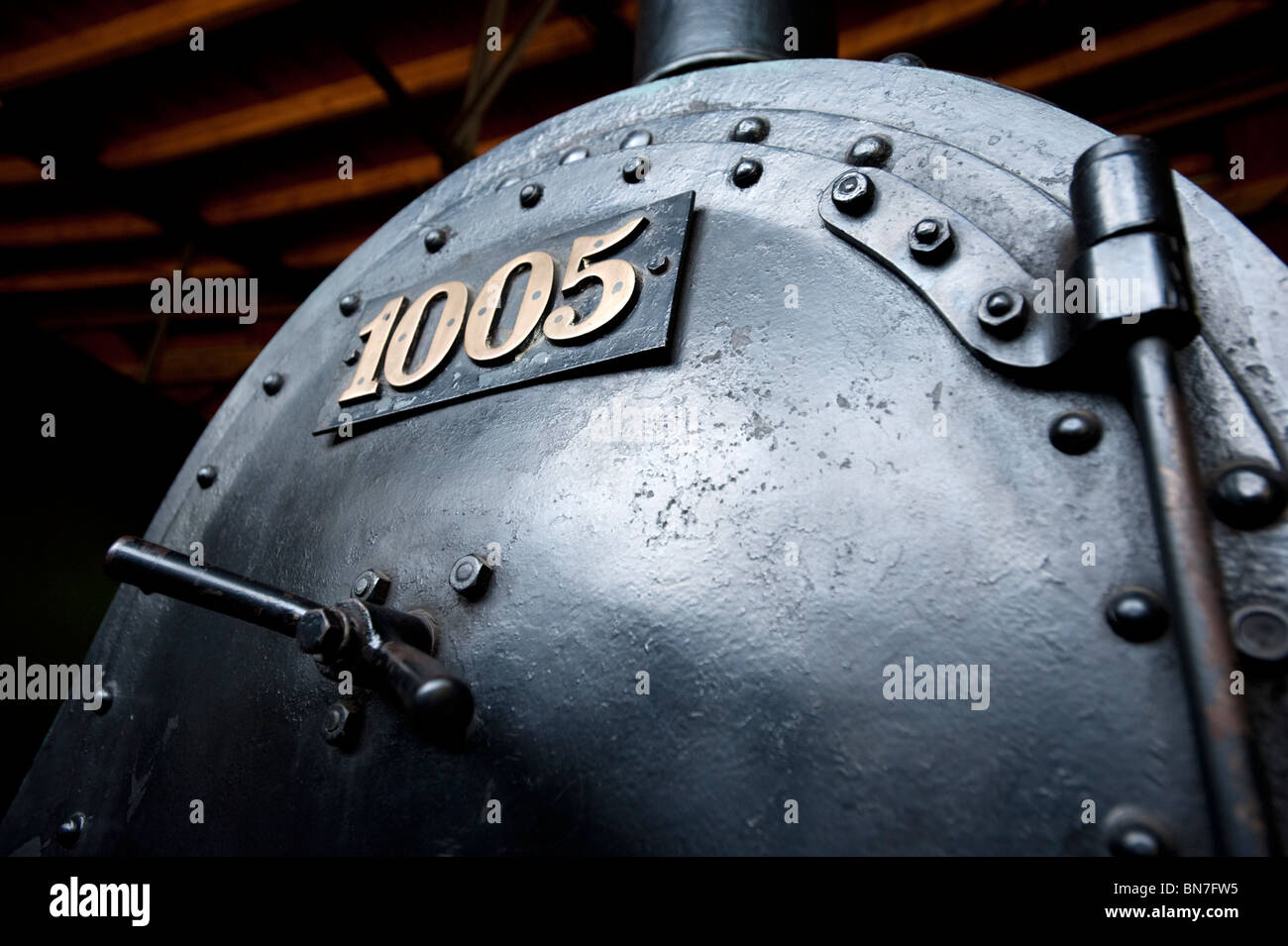 Old steam locomotives and trains on display at Deutches Technikmuseum in Berlin Germany - Stock Image