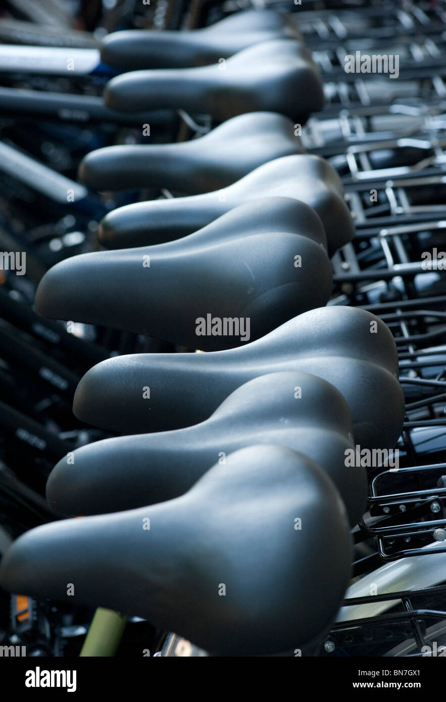 Many bicycles for hire outside shop in Berlin Germany - Stock Image