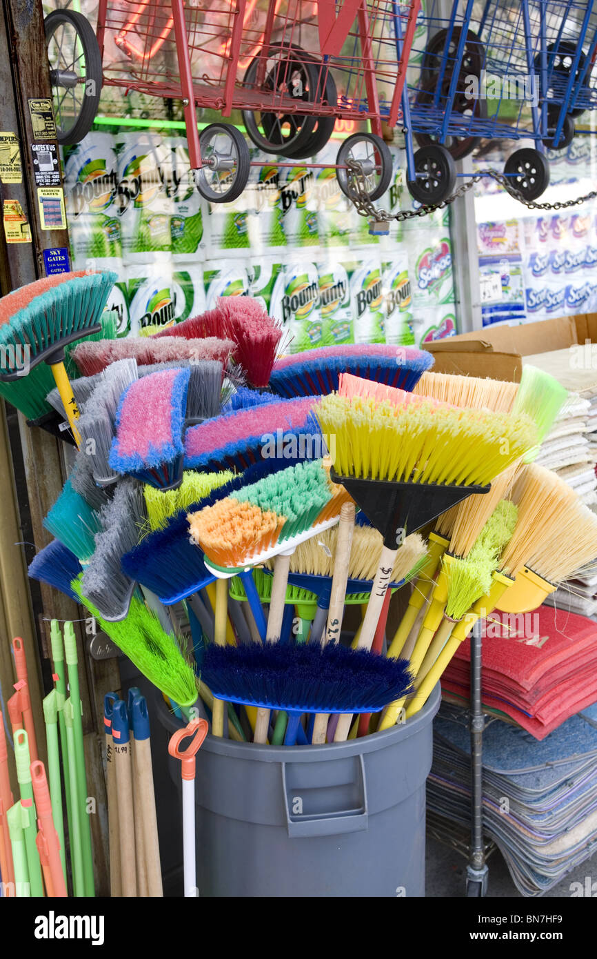 Colorful Brooms For Sale On The Street At A 99 Cent Store In Brooklyn New
