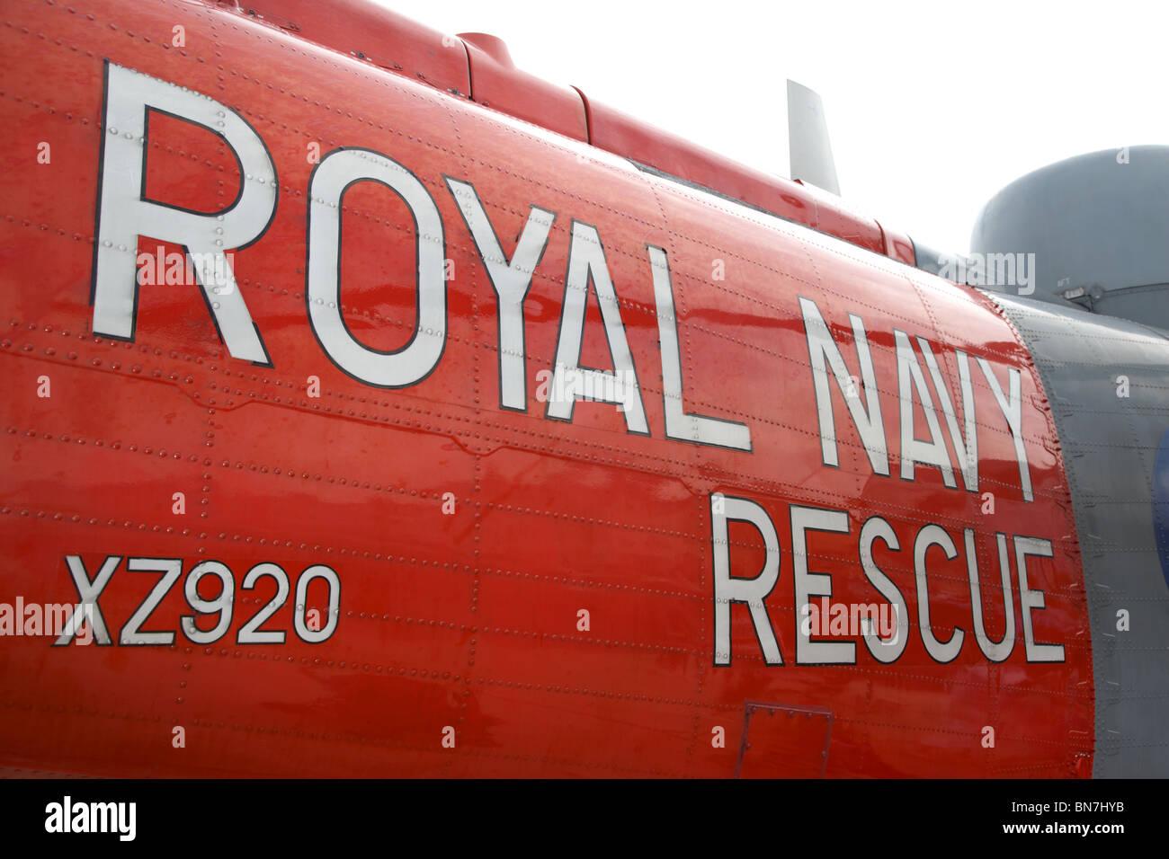 Royal Navy Rescue Westland Sea King HU5 helicopter XZ920 visiting Bangor Northern Ireland UK - Stock Image
